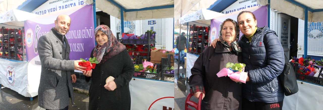 Marmaraereğlisi Belediyesi'nden kadınlara 3 bin çiçek
