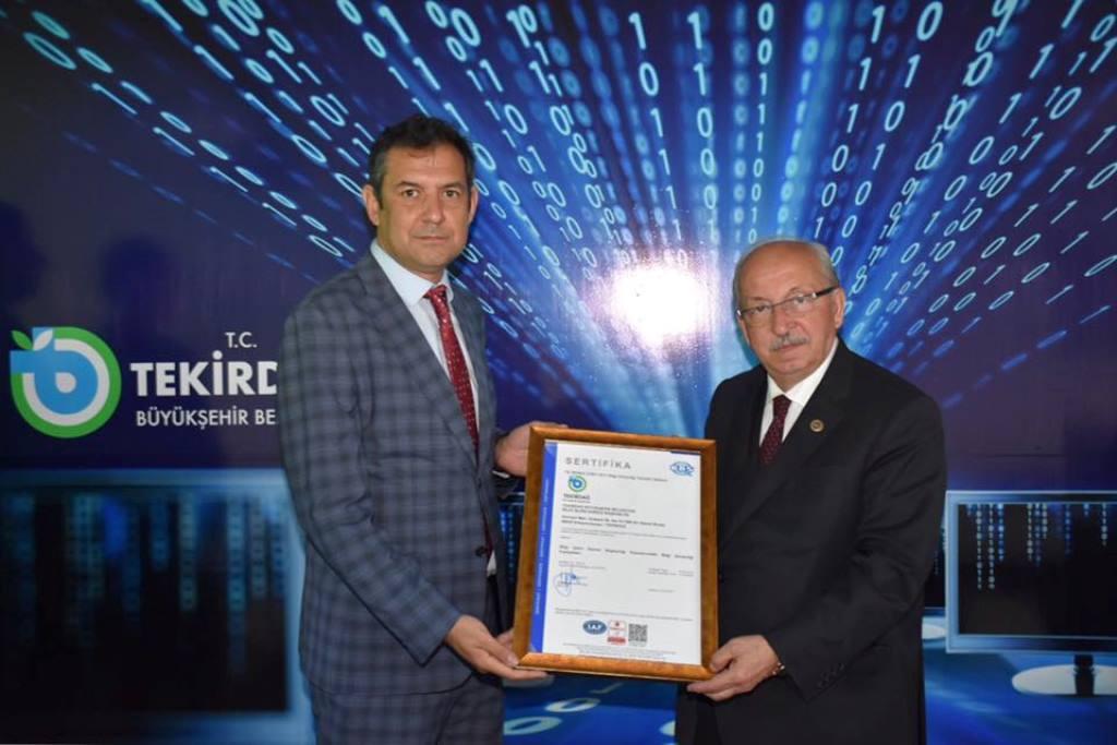 Tekirdağ Büyükşehir Belediyesi ISO 27001 Bilgi Güvenliği Sistemi Sertifikasını Aldı