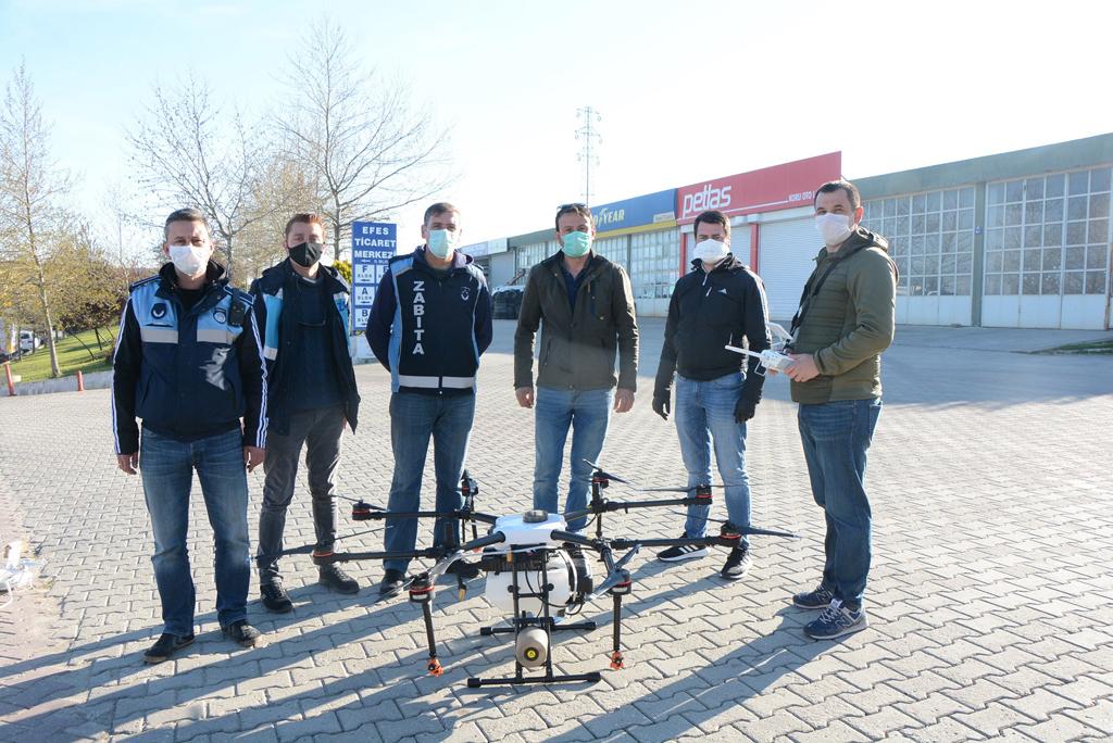 Keşan Belediyesi dezenfeksiyon çalışmalarında droneları kullanıyor